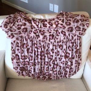 Free People Blush pink leopard print top. NWOT